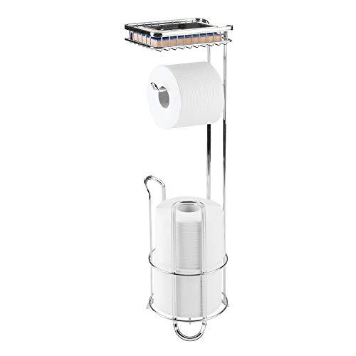 mDesign Portarrollos de pie de metal – Accesorios de baño sin taladro – Soporte para papel higiénico con diseño atemporal – plateado