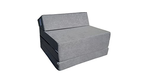 Natalia Spzoo Fold Out Guest Chair Z Bed Futon Sofa for Adult and Kids folding mattress (Gray)