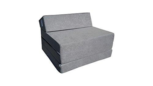 Matelas lit fauteuil futon pliable pliant choix des couleurs - longueur 200 cm ( 1008-Gris)
