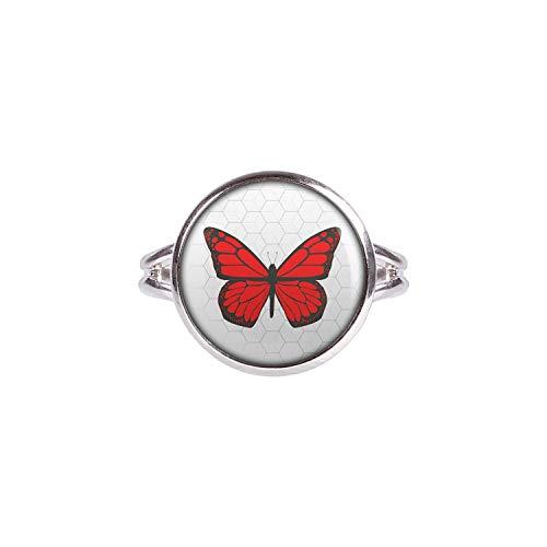 Mylery Ring mit Motiv Schmetterling Rot silber 14mm