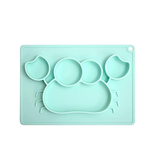 Tipo de Ventosa de Silicona Tipo de Cena de Color sólido Placa de Comida para bebés Platos de Plato de Alimentos Vajilla para niños Reutilizable 11.02 Pulgadas (Color : Blue)