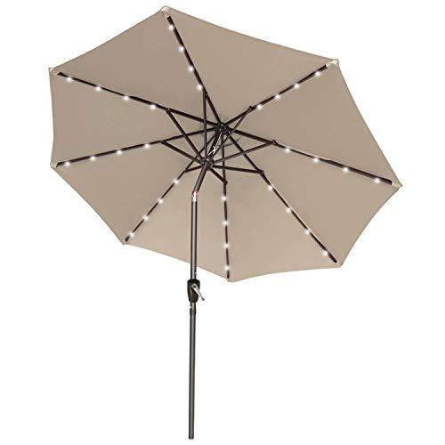 ABCCANOPY 275cm Gartenschirm Sonnenschirm neigbar mit 32 Solar-LED-Lichtern,für Garten,Schwimmbad,Sandstrand,Khaki