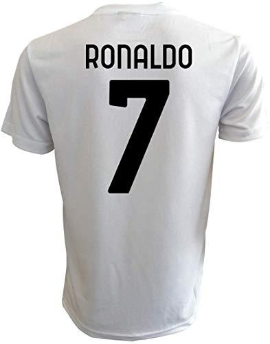 Ufficiale Camiseta de fútbol blanca y negra 2020/2021 – N.7 – Tallas de niño y adulto, Bianconero, 12 años