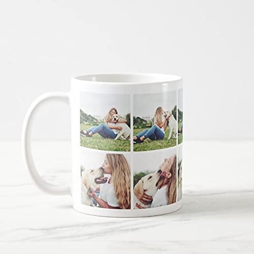 Yilooom Cute Cup Present, Taza de café con collage de fotos para amantes de perros, 11 onzas