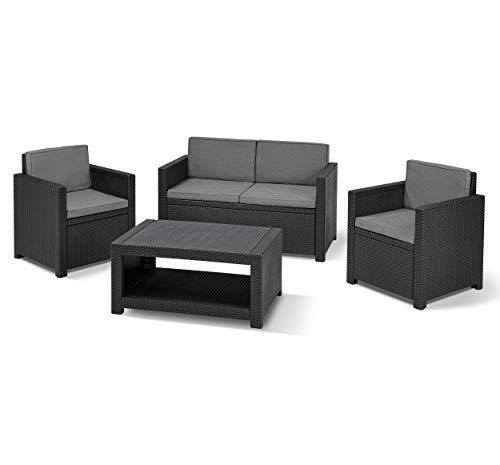 Koll Living Lounge Set Korsika in anthrazit, inkl. Sitzauflagen & Rückenkissen, langlebiger & wetterfester Kunststoff in Rattanoptik, 2 Sessel + 1 Sofa + Tisch - 4