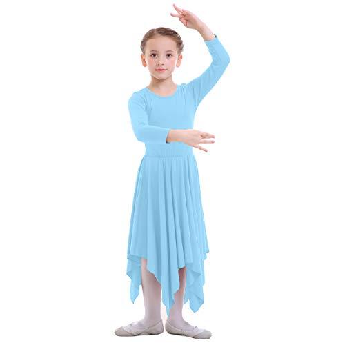 OBEEII Vestido de Liturgico Danza Niñas Vestido Maillot Leotardo Gimnasia Disfraz de Baile Clásica Combinación para Bautizo Danza Iglesia Ceremonia Casual 001 Azul Claro 3-4 Años