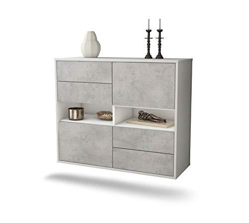 Dekati dressoir Oxnard hangend (92 x 77 x 35 cm) romp wit mat | front beton look | Push-to-Open