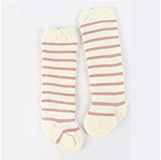 Lovely Socks Children Cotton Socks Kids Autumn and Winter Stripe Patterns Terry Mid Tube Socks(Purple) Newborn Sock (Color : White, Size : S)