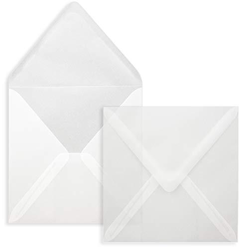 Quadratische Brief-Umschläge ohne Fenster in Transparent Weiß - 25 Stück - 15 x 15 cm - Nassklebung - Für Hochzeits-Karten, Einladungskarten und mehr - Serie FarbenFroh®
