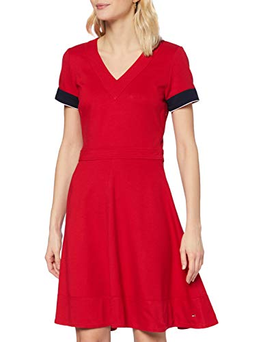 Tommy Hilfiger Fit&Flare Punto Dress SS Vestido, Primary Red, 38 para Mujer