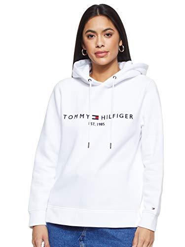 Tommy Hilfiger Damen TH ESS Hilfiger Hoodie LS Sweatshirt, Weiß (Bright White Yaf), XX-Small (Herstellergröße:XXS)