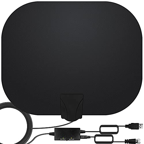 TV Antenna - Amplified HD Digital TV Antenna Long 250+ Miles Range Antenna 360° Reception HDTV Antenna Support 4K 1080p Fire Stick and All Television Indoor Amplifier Signal Booster for Local Channel
