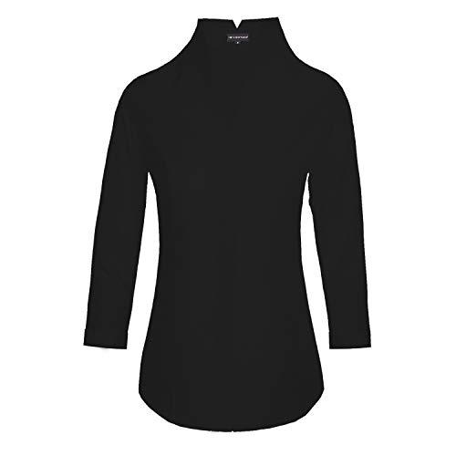 HEVENTON Damen Hemdbluse mit Kelchkragen leicht tailliert bügelleicht Bluse mit Stehkragen elegant festlich auch für Business 3/4 Arm 1205 Farbe Schwarz, Größe 44
