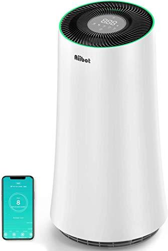 Aiibot Luftreiniger Wohnung Raucherzimmer bis zu 120m², Air Purifier mit APP Steuerung und HEPA Filter, gegen 99,97{fa45894cfd3cf29431d159a48ea2c546a2f7be92f5513d84722aae610ad66c26} Allergie Pollen Gerüche Staub Tierhaare, Luftqualitätssensor, Schlafmodus Timer
