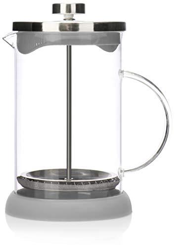 COM-FOUR® Macchina da caffè con sistema French-Press - La macchina da caffè funge anche da macchina da tè - macchina per il caffè con cilindro di vetro (01 pezzi - caffettiera 800 ml/grigio)
