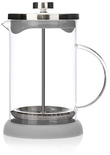 COM-FOUR Cafetera con sistema French-Press - Coffee press también sirve como tetera - cafetera con cilindro de vidrio (01 piezas - cafetera 800ml / gris)