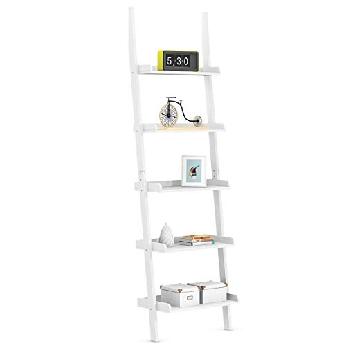 DREAMADE Standregal Holz mit 5 Ebenen, Bücherregal Leiterregal Treppenregal Pflanzenregal, Holzregal Aktenregal Lagerregal Dekoregal in 2 Farbe (Weiß)