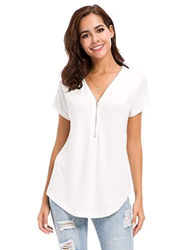 Avacoo Damen T Shirt V Ausschnitt Kurzarm Tops Tunika Casual T Shirts Bluse mit Reißverschluss Weiss S