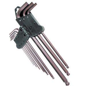 Ampro T22955 Clés Males Longues Sphériques, Set de 9