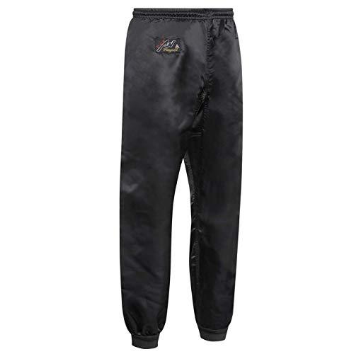 Playwell Kung Fu 100% Satén Negro con Puños Pantalones de Pierna - Negro - Negro, Negro, 3/160cm