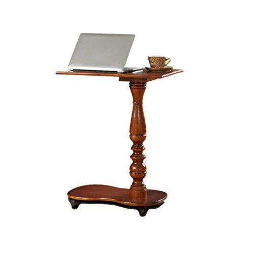Petite table en bois d'ordinateur de chevet de chevet de sofa en caoutchouc avec des roues, bureau pour le salon, chambre à coucher, 58 * 30 * 73CM