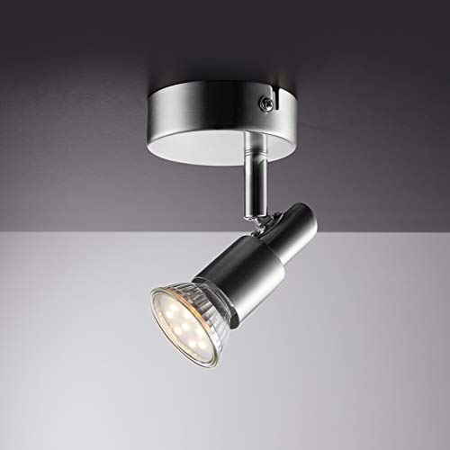 IMPTS LED Deckenstrahler 1 flammig, Deckenleuchte Wohnzimmerlampe Deckenspot Schwenkbar lamp, inkl. 1 x 3W Leuchtmittel GU10 Warmweiß Matt Nickel