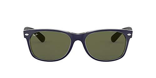 Ray-Ban New Wayfarer, Gafas de Sol Unisex adulto, Multicolor (Blue and Transparent 6188), 55 mm