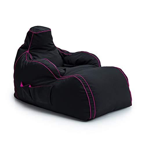 Game Over Video Gaming Sitzsack Liege Stuhl, Seitentaschen für Controller, Headset-Halterung