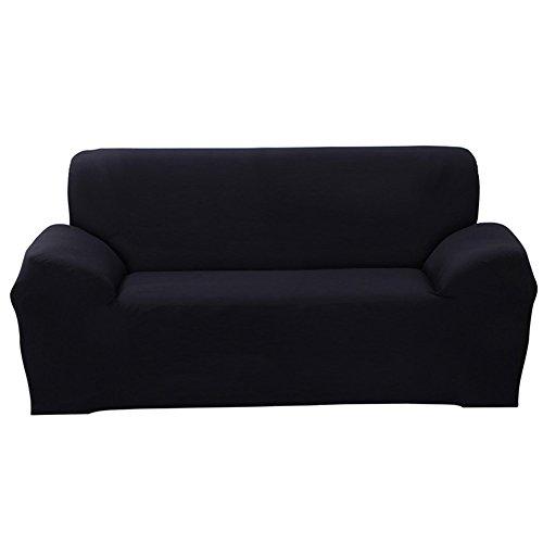 Shanna Sofaschonbezug, für 1-,2-,3-,4-Sitzer-Sofa, elastischer Stoff, Sofaschutz, Textil, Schwarz , 3-Seater Chair + 1pcs Free Pillowcase
