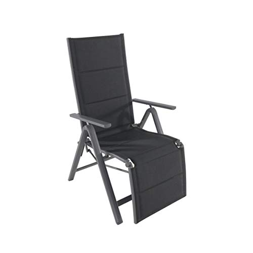 greemotion Relaxsessel Grenada anthrazit/schwarz, 7-fach verstellbare Rückenlehne mit Fußteil, Stuhl mit leichtem Aluminiumgestell, gepolsterte Bespannung aus  2x2 Textilene, klappbar