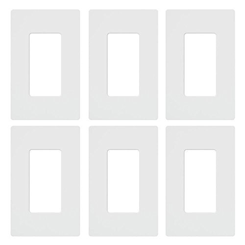 Lutron CW-1-WH-6 Claro 1-Gang Wall Plate (6 Pack), White