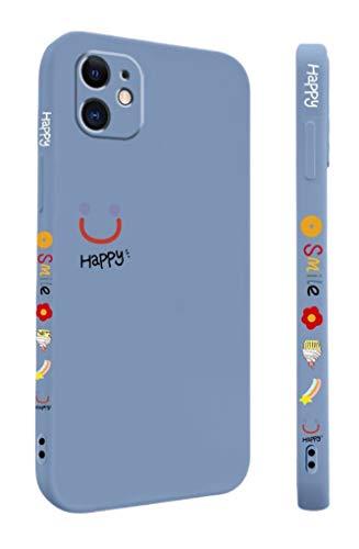 Svnaokr Funda compatible con iPhone, Happy Smile, goma líquida, protección de cuerpo entero, carcasa antigolpes (azul, para iPhone 11)