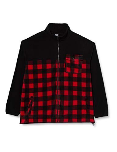 Urban Classics Herren Patterned Polar Fleece Track Jacket Jacken, Black/redcheck, L