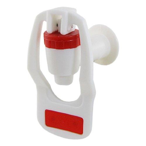 sourcing map Kunststoff Wasserhahn Zapfhahn Auslaufventil Ersatz Push Type für Wasserspender Weiß Rot