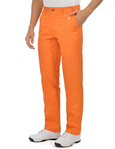 Herren-Golfhose, Stretch, entspannte Passform, tailliert, flache Vorderseite, Tech Performance, klassische Chinohose - Orange - 34W / 33L