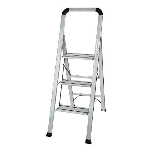 STIER Haushaltsleiter, 3 Stufen, Tragfähigkeit 150 kg, Aluminium, XXL-Stufen, Sicherheitsbügel, zusammenklappbar