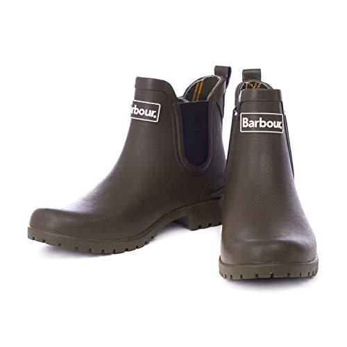 Womens Barbour Wilton Rubber Waterproof Wellingtons Snow Chelsea Boots - Olive - 5