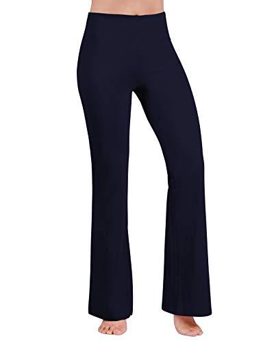 ODODOS Women's Boot-Cut Yoga Pants Tummy Control Workout Non See-Through Bootleg Yoga Pants,Navy,Medium