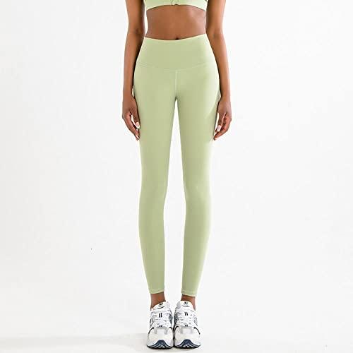 Leggings y medias deportivas para mujer Lijado de doble cara, agradable para la piel, pantalones de yoga flacos desnudos, deportes, color puro, calidad, ropa de yoga azul, pantalones de cintura alta,