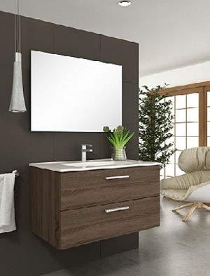 Aquore | Mueble de Baño con Lavabo y Espejo | Mueble Baño Modelo Menorca 2 Cajones Suspendido | Muebles de Baño | Diferentes Acabados Color | Varias Medidas (Britania, 100 cm)