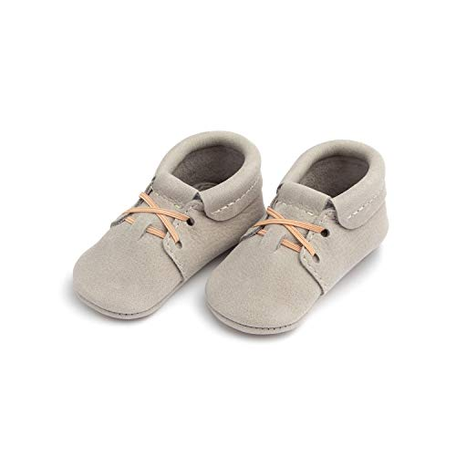 Freshly Picked - Soft Sole Leather Oxford Moccasins - Baby Girl Boy Shoes Size 3 Salt Flats Gray