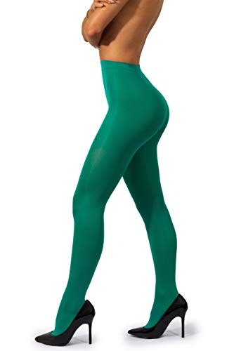sofsy Opaque Microfibre Tights for Women - Invisibly Reinforced Opaque Brief Pantyhose 40Den [Made In Italy] Avocado Green 5 - X-Large