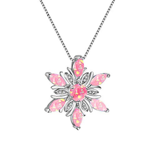 Beiswe Cute Flower Pendant Choker Fire Opal Purple Rhinestone Silver Pendant Wedding Party Necklaces for Women Charm Jewelry Gift (Pink)