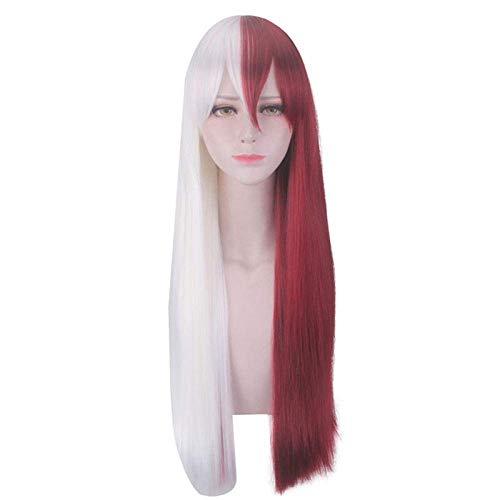 AGGF Cosply Perücke, weißes + burgunderfarbenes langes glattes Haar, 60 cm, natürliches naturgetreues Haar, Hochtemperaturseide aus chemischen Fasern, Perücke, die...