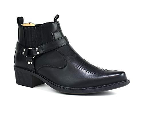 Classique Herren Western Cowboy Stiefeletten, Schwarz - Schwarz - Größe: 45 EU