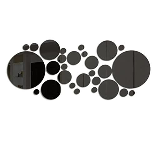 Chiyyak Espejo adhesivo de pared, acrílico 3D, autoadhesivo, redondo, para pared, para salón, cocina, oficina