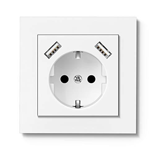 RAVPHICS Enchufe USB, empotrable, con 2 puertos USB (3,4 A), color blanco brillante, toma de pared Schuko, profundidad del zócalo de solo 33 mm, fácil instalación.
