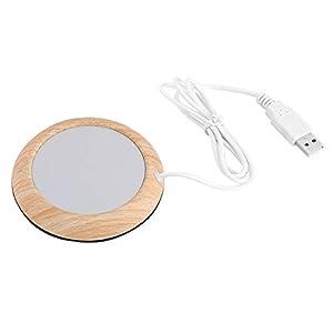Fydun Almohadilla calefactora USB Taza de Grano de Madera Calentador Bebida Caliente Posavasos Té de Oficina Café(Grano de Madera de Nogal Claro)