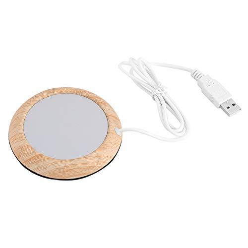 Calentador de tazas de grano de madera USB con cable USB Taza eléctrica Placa de bebida Alfombrilla de té y café para uso doméstico(Grano de madera brillante)