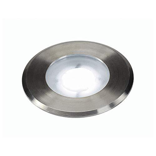 SLV 228411 DASAR Plat LED 230 V spot encastrable au sol, rond, 4,3 W LED, blanc, en acier inoxydable, en acier, gris argenté,